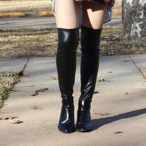ZARA over the knee faux leather vinyl high boots